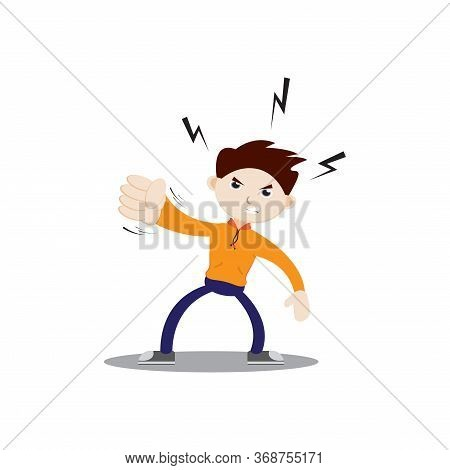 Angry-faced Boy Punching. Wearing An Orange Jacket, Navy Blue Pants And Sneakers. Flat Character Ill