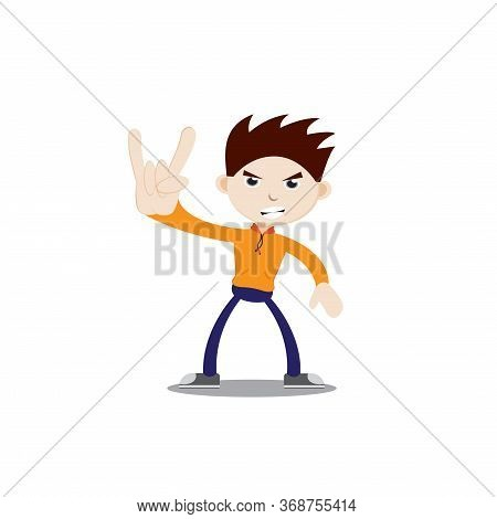 The Boy Is Standing Fierce With A Metal Hand. Wearing An Orange Jacket, Navy Blue Pants And Sneakers