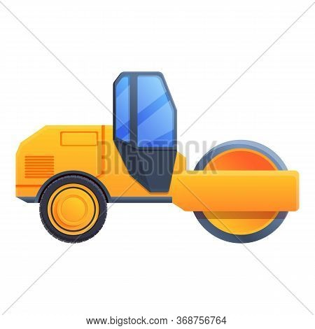 City Road Roller Icon. Cartoon Of City Road Roller Vector Icon For Web Design Isolated On White Back