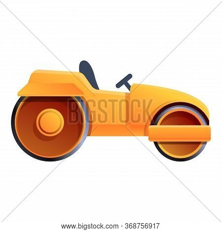 Heavy Road Roller Icon. Cartoon Of Heavy Road Roller Vector Icon For Web Design Isolated On White Ba