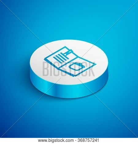 Isometric Line Cookbook Icon Isolated On Blue Background. Cooking Book Icon. Recipe Book. Fork And K
