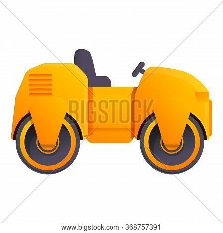 Safety Road Roller Icon. Cartoon Of Safety Road Roller Vector Icon For Web Design Isolated On White