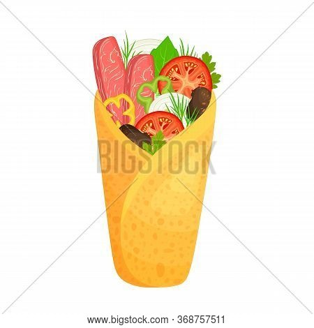 Closeup Appetizing Burrito With Various Ingredients. Mexican Cuisine. Vector. Filled Burritos.