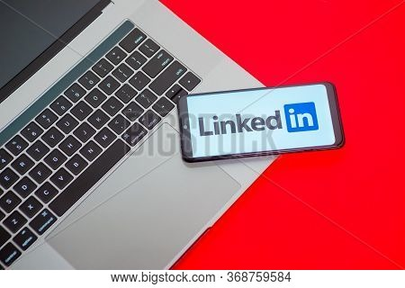Tula, Russia - May 18,2020: Modern Smartphone With Linkedin Logo On The Screen.