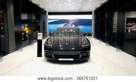 Bangkok, Thailand - May 4 : Porsche Automobile Dealership Showroom At Iconsiam. The Iconsiam Is The
