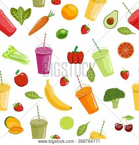 Smoothies And Fruits Seamless Pattern. Cute Summer Seamless Vector Pattern Background Illustration W