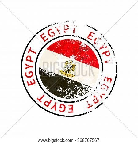 Egypt Sign, Vintage Grunge Imprint With Flag On White