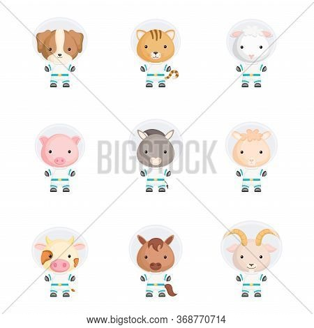 Set Of Cute Spacemen Animals. Adorable Animals Characters For Design Of Album, Scrapbook, Card, Post