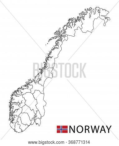 Norway Map, Black And White Detailed Outline Regions Of The Country.