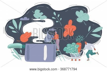 Couple Cooking Together Family Meal In Big Saucepan.