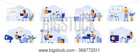 Marketing Department Bundle With People Characters. Marketers Working With Laptops And Doing Present