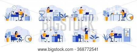 Deadline Scenes Bundle With People Characters. Tired Employees Hurrying Up On Deadline At Workplace,