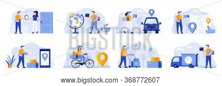 Delivery Scenes Bundle With People Characters. Online Order And Couriers Delivery At Home, Global Sh