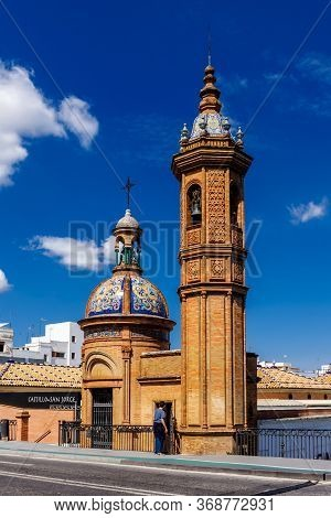 Sevilla, Andalusia, Spain  - 14 May 2013: Chapel Virgin Of The Carmen In Coast Of The Guadalquivir T