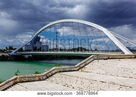 Sevilla, Andalusia, Spain - 14 May 2013: Barqueta Bridge (puente De La Barqueta) Of Seville. Bridge