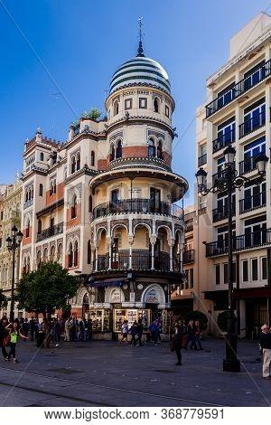 Sevilla, Andalusia, Spain  - 14 May 2013: Bright Colors Of The Edificio La Adriatica. Different Styl