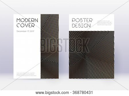 Minimal Cover Design Template Set. Gold Abstract Lines On Black Background. Curious Cover Design. Wo