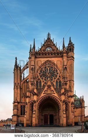 Up View Of The Saint Etienne Cathedral In Metz Under A Bright And Sunny Morning, Lorraine, France
