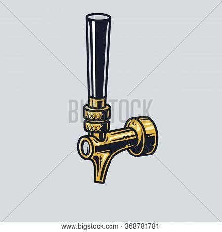 Sihluette Of Cold Beer Tap For Pub Menu Or Logo