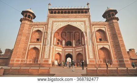 Agra, India - December 12, 2018: The Complex Of Buildings Of The Taj Mahal In The City Of Agra.