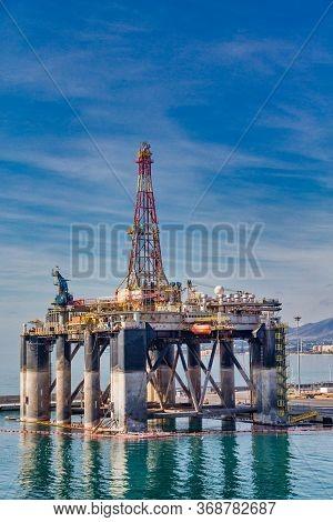 Oil Drilling Platform In Harbor Of Malaga Spain