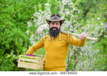 Farmer Working In Garden. Gardening. Bearded Gardener With Gardening Tools. Work In Garden. Gardener