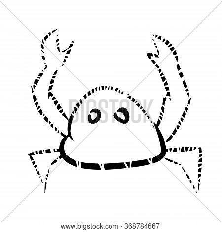 Crab Cartoon, Hand Drawn, Doodle. Isolated On A White Background For Packaging Child Design, Print O