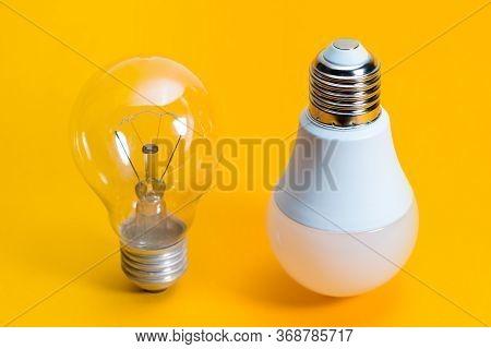 Light Bulbs. Isolated Of Incandescent Bulbs, Fluorescent Bulbs, Orange Old Generation Bulb, Tungsten