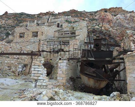 Destroyed Sulfur Factory In The Mountains. Broken Brick Buildings. Greece. Milos Island