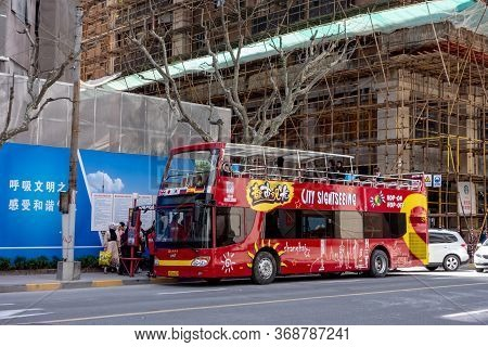 Shanghai, China - April 13, 2017: Red Ankai Doubledecker Bus For Tourists And Sightseeing Tours In S