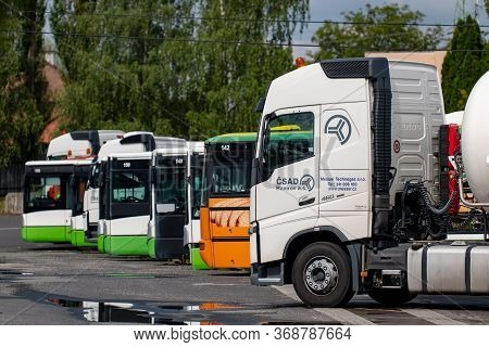 Senov, Czech Republic - August 16, 2019: Volvo Truck And Iveco Buses At The Senov Logistics Center A