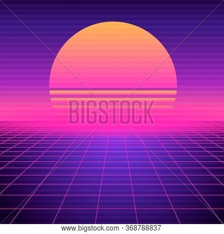 Retro Futuristic Background Vaporwave. Neon Geometric Synthwave