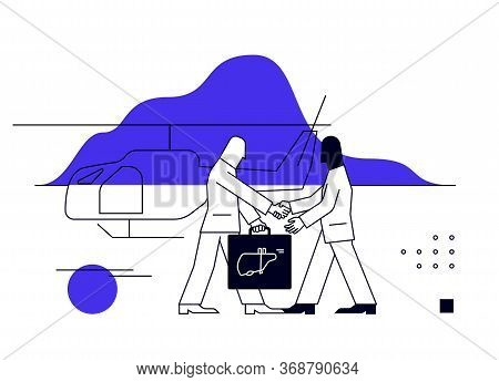 Human Internal Organ Trafficking Business, Illustration Of Criminal Business Meeting While One Perso