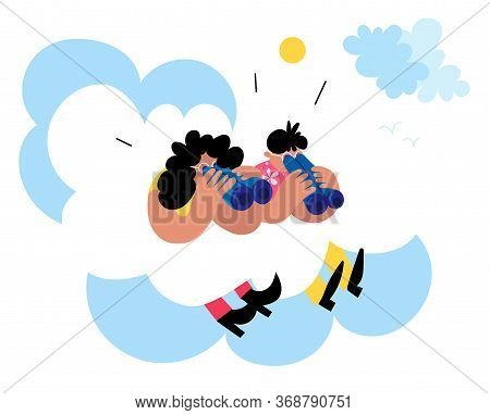 Parents Look At Kids With Binoculars From The Sky, Sitting On Clouds. Concept Of Parental Care And C