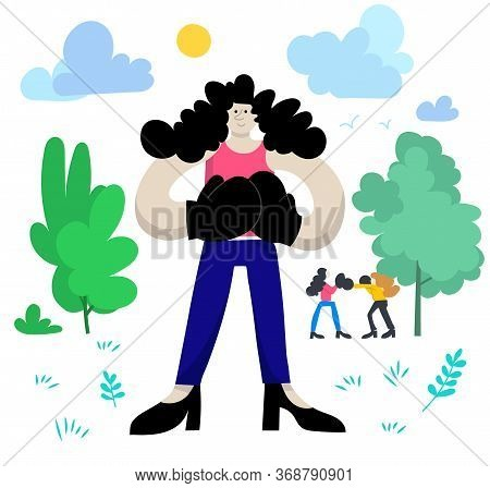 Young Woman Boxer Outside With Other Boxers On Training Day. Sunny Day, Green Trees And Blue Sky. Ha