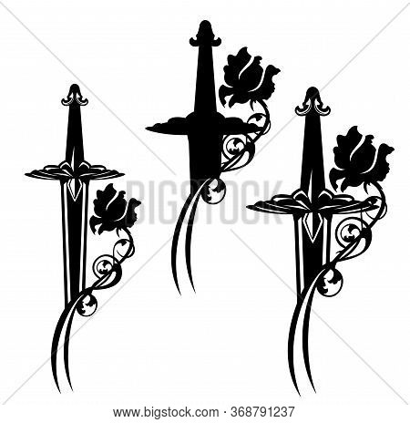 Medieval Fairy Tale Knight Sword Entwined With Rose Flower Black And White Vector Silhouette And Out