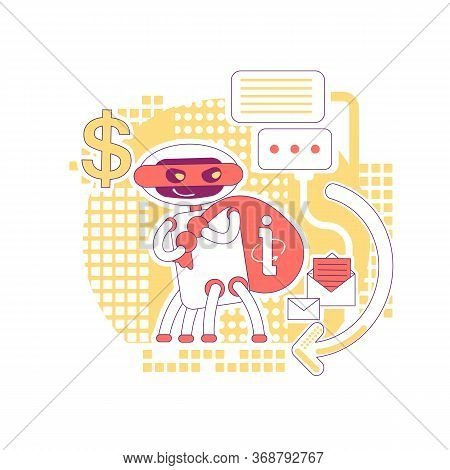 Scraper Bot Thin Line Concept Vector Illustration. Stealing Website Data And Internet Content. Bad R