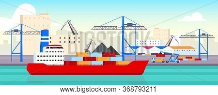 Sea Port Flat Color Vector Illustration. Industrial Shipyard, Container Yard 2d Cartoon Landscape Wi