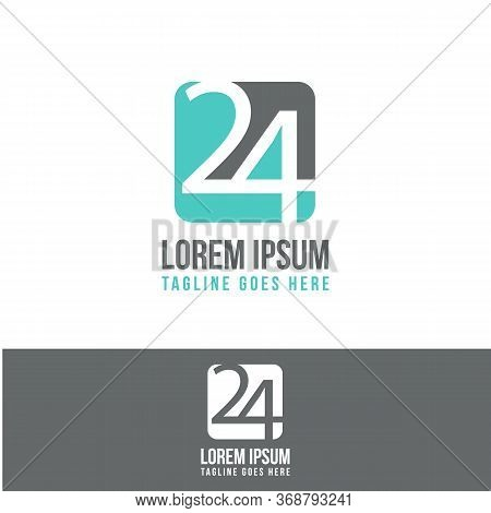 Number 24 Icon Symbol. Service Around The Clock 24 Hours A Day Or 24 Anniversary. Vector Illustratio