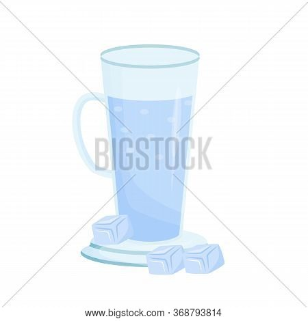 Cold Mineral Water Cartoon Vector Illustration. Tall Cup With Liquid Flat Color Object. Sparkling Wa