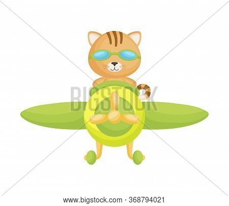 Cute Cat Pilot Wearing Aviator Goggles Flying An Airplane. Graphic Element For Childrens Book, Album