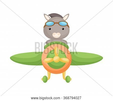 Cute Donkey Pilot Wearing Aviator Goggles Flying An Airplane. Graphic Element For Childrens Book, Al