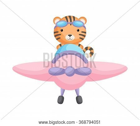 Cute Tiger Pilot Wearing Aviator Goggles Flying An Airplane. Graphic Element For Childrens Book, Alb