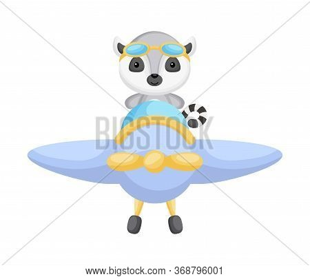 Cute Lemur Pilot Wearing Aviator Goggles Flying An Airplane. Graphic Element For Childrens Book, Alb
