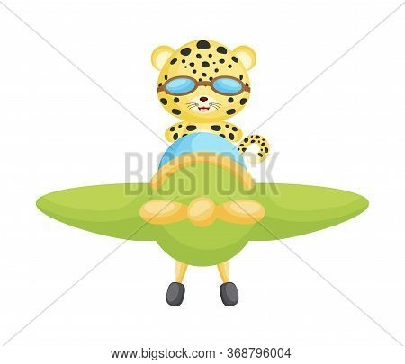 Cute Leopard Pilot Wearing Aviator Goggles Flying An Airplane. Graphic Element For Childrens Book, A