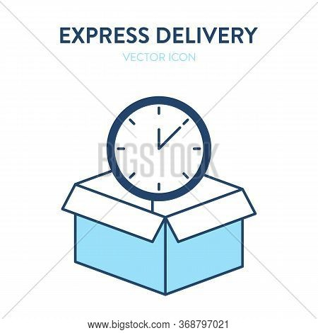 Open Box And Clock Face Icon. Vector Illustration Of An Open Box And Watch Face Inside. It Represent