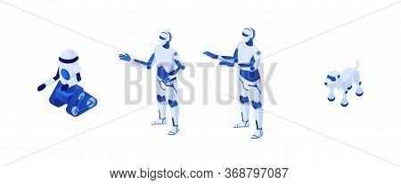 Technological Robots Future Isometry. Robotic Illustration Humanoid