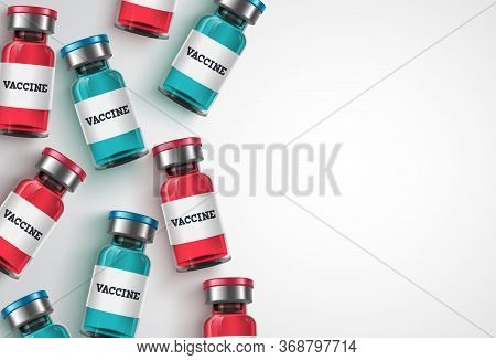 Vaccine Bottles Vector Background Template. Vaccine Bottle And White Empty Space For Text, Backgroun