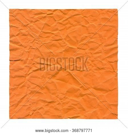Crumpled Orange Paper. Background For Greetings, Invitations. Item For Scene Creator And Other Desig
