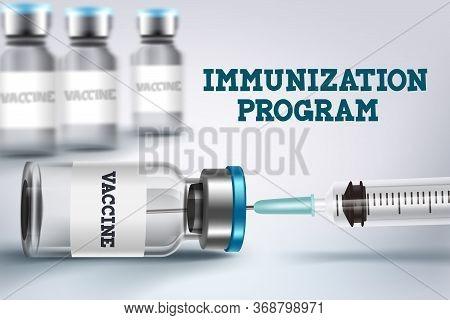 Vaccine Immunization Program Vector Design. Vaccine Shot Bottle And Injection For Covid-19 Coronavir